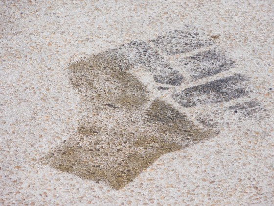 stencil of the Black Power fist on the ground