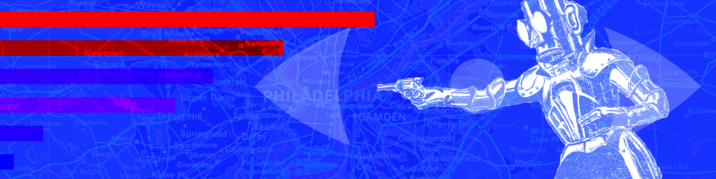 A drawing of a robot pointing a gun over a map of Philadelphia