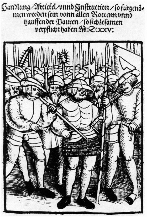 Drawing of peasants holding weapons