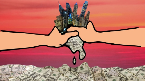 Philadelphia skyscrapers are being squeezed by two hands, dripping into a pool of money