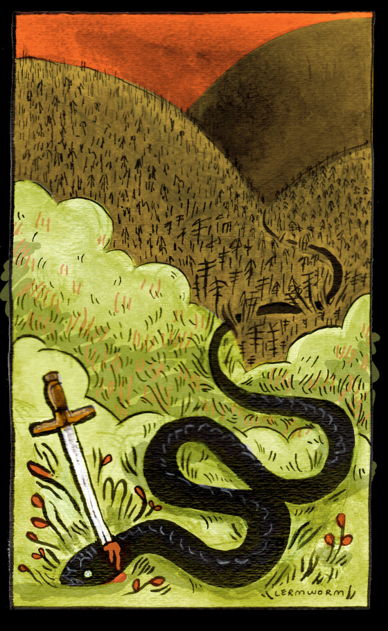 A painting of a snake in grassy hills with a sword through its neck