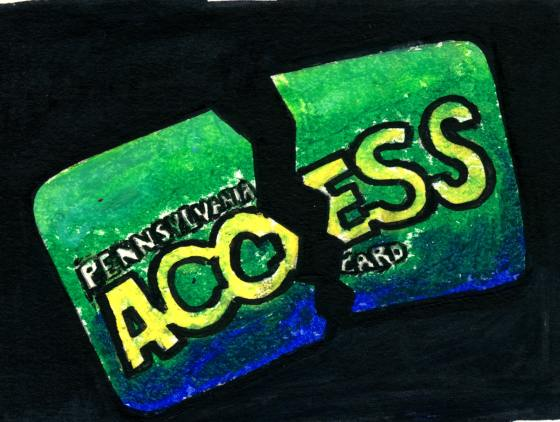 A drawing of a Pennsylvania ACCESS card broken in two
